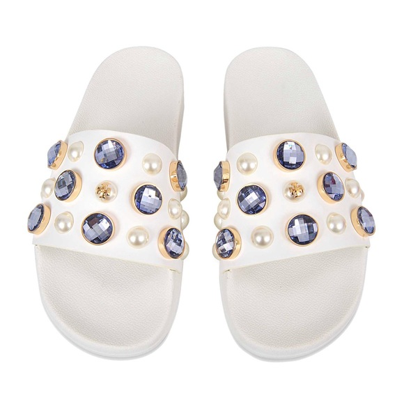 255348ed563fe Tory Burch Vail Slide Jeweled Sandals. M 5ae4cb6e8af1c5149a36ec77